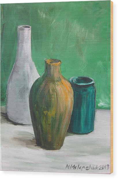 Green Still Life 2013 Wood Print by Maria Melenchuk