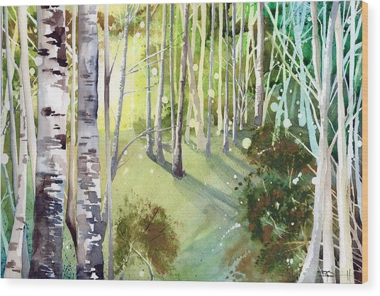 Green Sun Wood Print