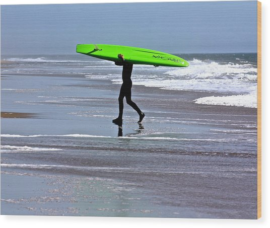 Green Surfboard Wood Print