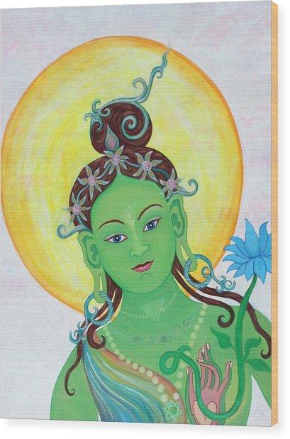 Green Tara Wood Print by Sarah Grubb
