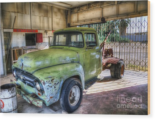 Green Tow Mater Wood Print by Eddie Yerkish