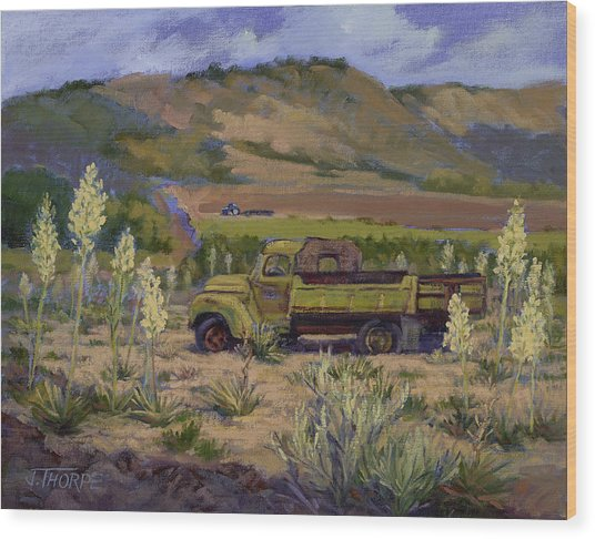 Green Truck- Blooming Yuccas Wood Print