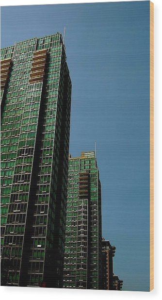 Green Vancouver Towers Wood Print