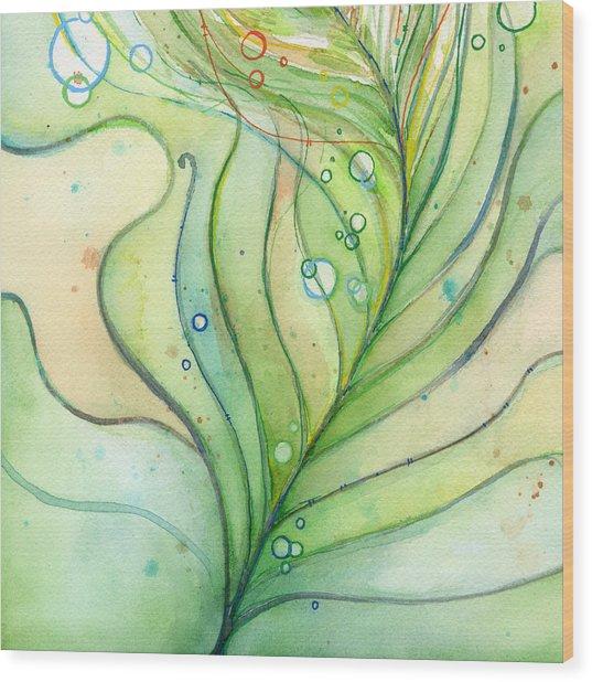 Green Watercolor Bubbles Wood Print