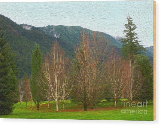 Green Winter Wood Print by Nur Roy