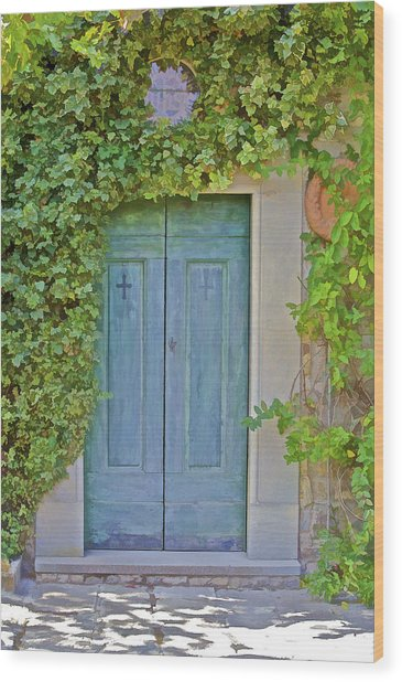 Green Wood Door Of Tuscany Wood Print