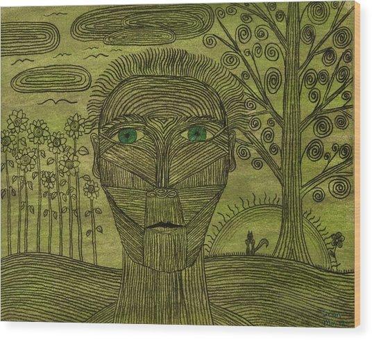 Green World Wood Print by Sean Mitchell