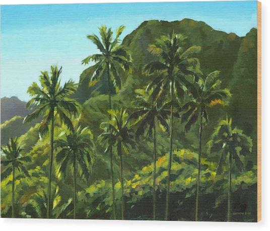 Greens Of Kahana Wood Print