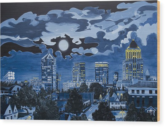 Greensboro Night Skyline Wood Print
