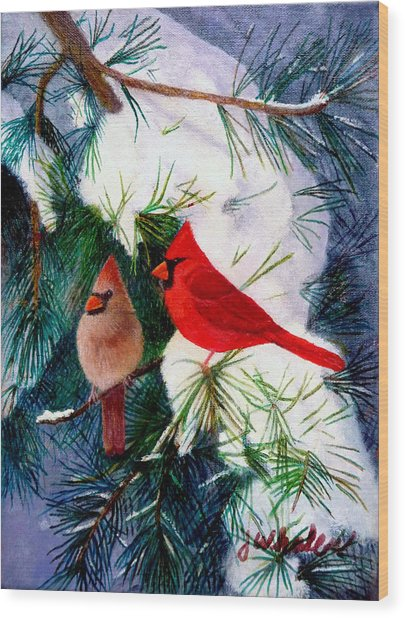 Greeting Cardinals Wood Print