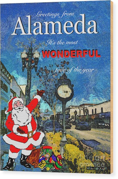 Alameda Christmas Greeting Wood Print