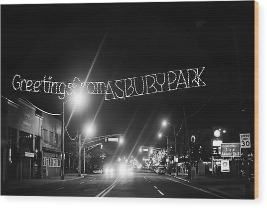 Greetings From Asbury Park New Jersey Black And White Wood Print