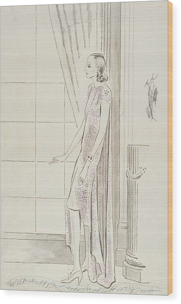 Greta Garbo By A Window Wood Print by Cecil Beaton