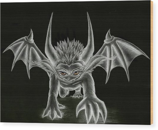 Wood Print featuring the painting Grevil Statue by Shawn Dall
