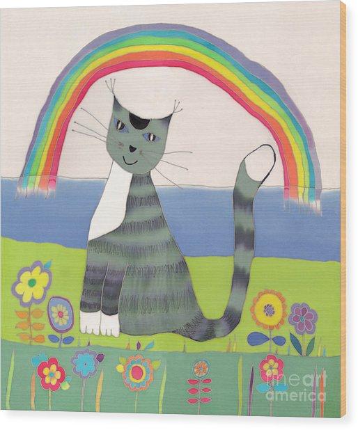 Grey Cat Under Rainbow Wood Print by Yana Vergasova