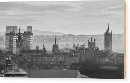 Grey City Wood Print