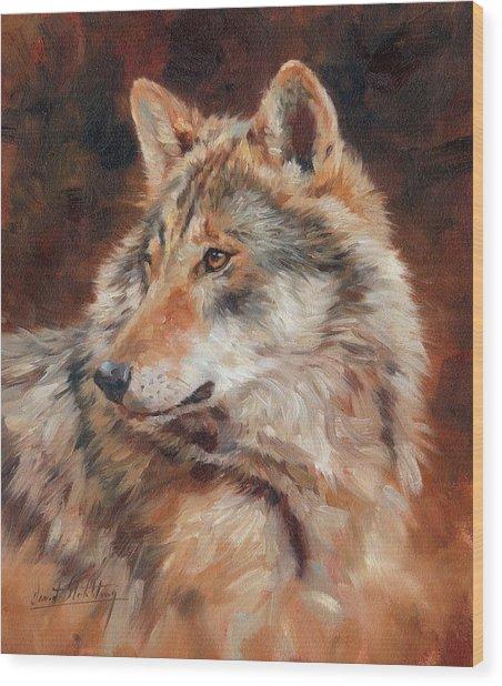 Grey Wolf Portrait Wood Print