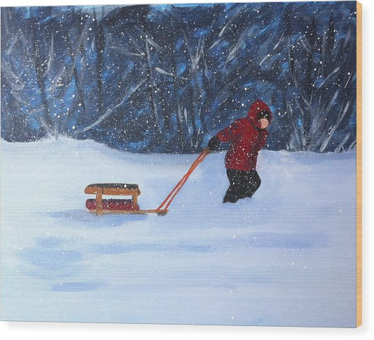 Wood Print featuring the painting Griffin's Sled by Jane Croteau