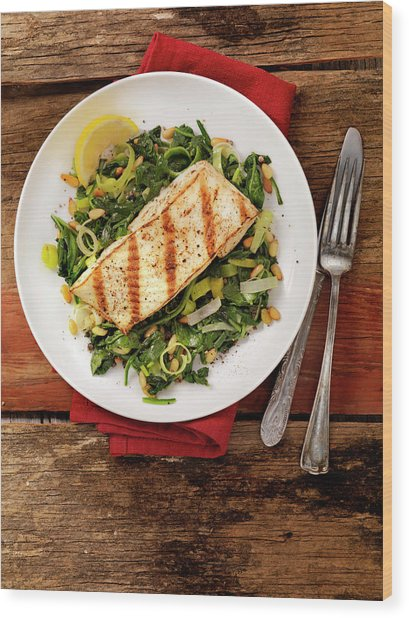 Grilled Halibut With Spinach, Leeks And Wood Print by Lauripatterson