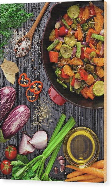 Grilled Vegetables Wood Print by Fcafotodigital