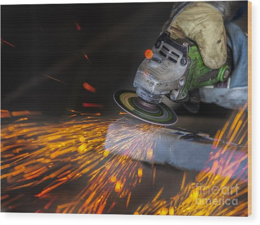 Grinding In A Steel Factory  Wood Print