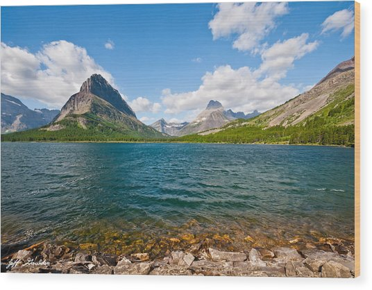 Grinnell Point From Swiftcurrent Lake Wood Print