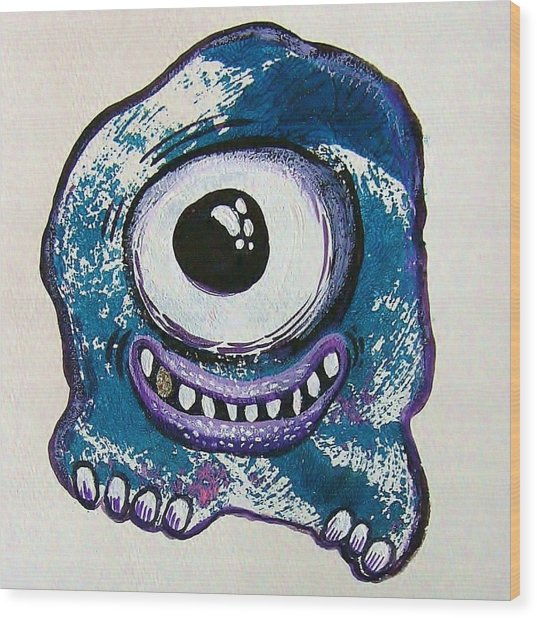 Grinning Monster Wood Print by Nancy Mitchell
