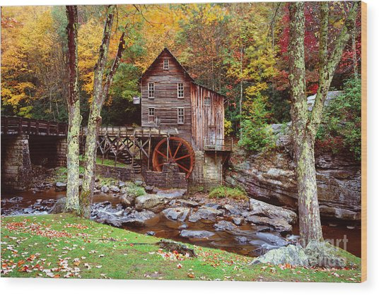 Grist Mill In Babcock St. Park Wood Print