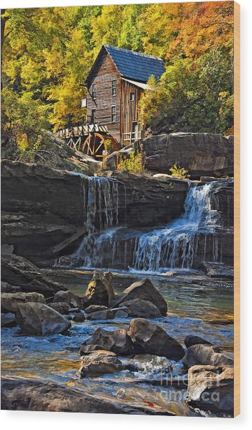 Grist Mill In Babcock State Park West Virginia Wood Print