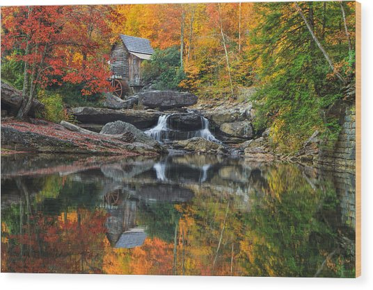 Grist Mill In The Fall Wood Print
