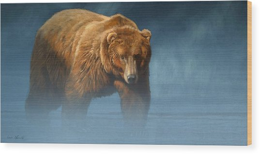 Grizzly Encounter Wood Print