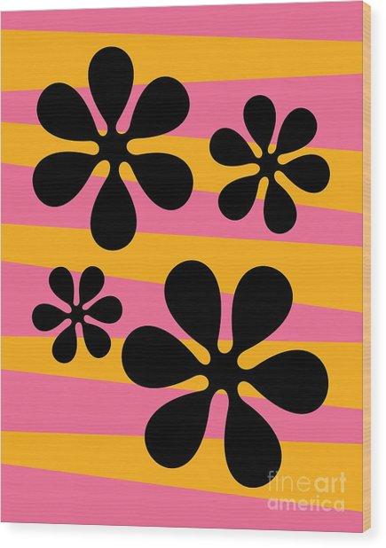 Groovy Flowers I Wood Print