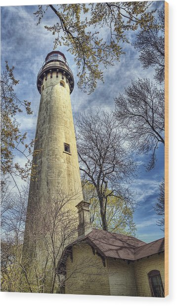 Grosse Point Lighthouse Color Wood Print