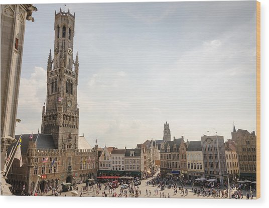 Grote Markt Brugge Wood Print