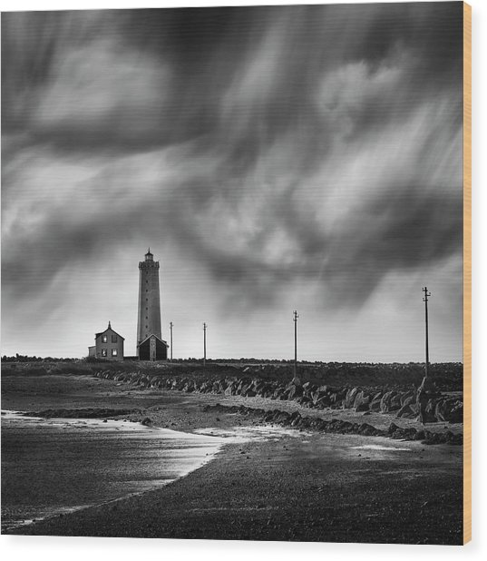Grotta Lighthouse Wood Print by George Digalakis