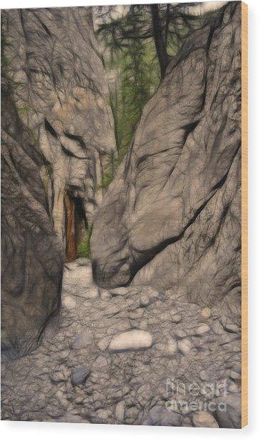Grotto Canyon Fractal Wood Print
