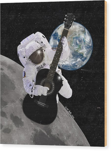 Wood Print featuring the digital art Ground Control To Major Tom by Nikki Marie Smith
