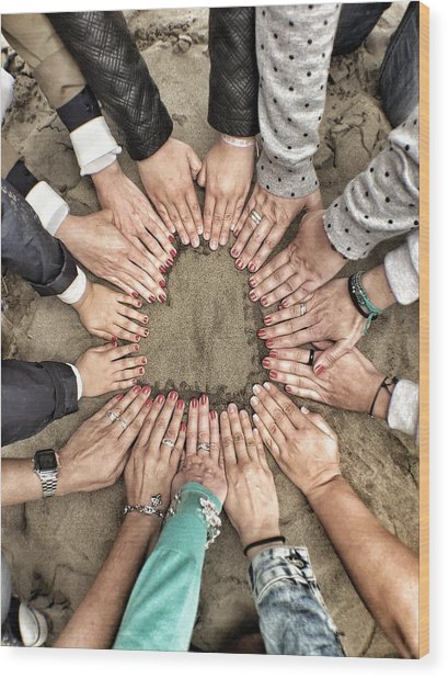 Group Of Friends Making Heart Shape Wood Print by Julen Garces Carro / Eyeem