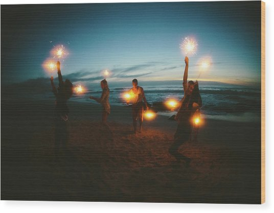 Group Of Friends With Fireworks Wood Print by Wundervisuals