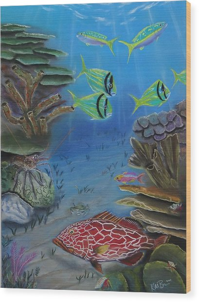 Grouper On The Reef Wood Print
