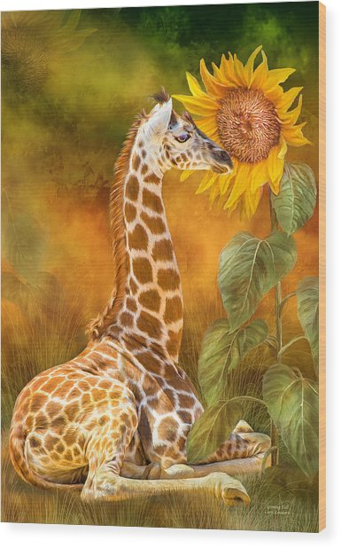 Wood Print featuring the mixed media Growing Tall - Giraffe by Carol Cavalaris