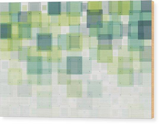 Growth Geometric Squares Pattern Wood Print by FrankRamspott