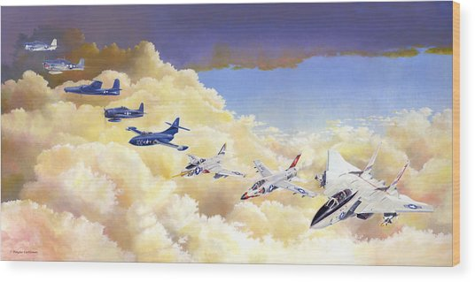 Grumman Cats Fantasy Formation Wood Print