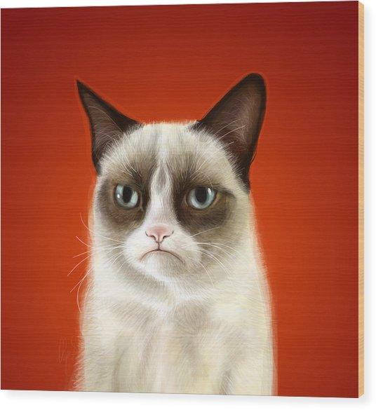 Grumpy Cat Wood Print