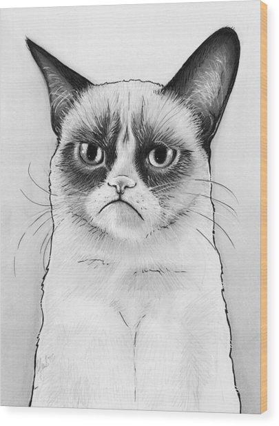 Grumpy Cat Portrait Wood Print
