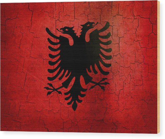 Grunge Albania Flag Wood Print