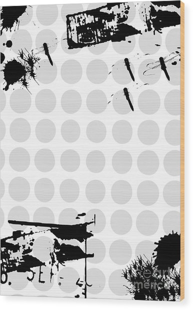 Grunge Background With Dragonfly Wood Print by Ozkan