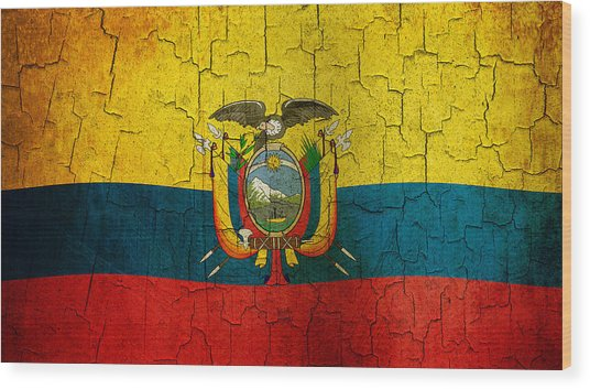 Grunge Ecuador Flag Wood Print