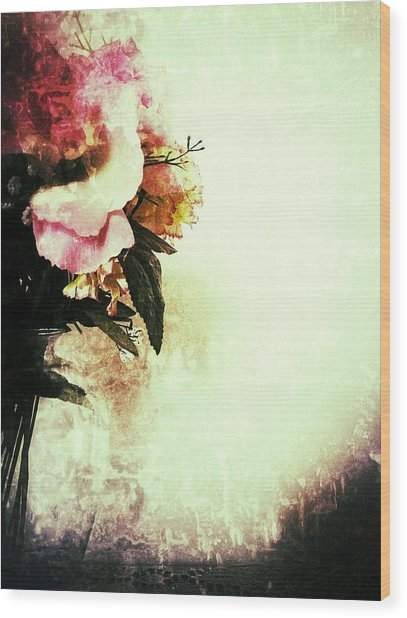 Grunge Flowers Wood Print
