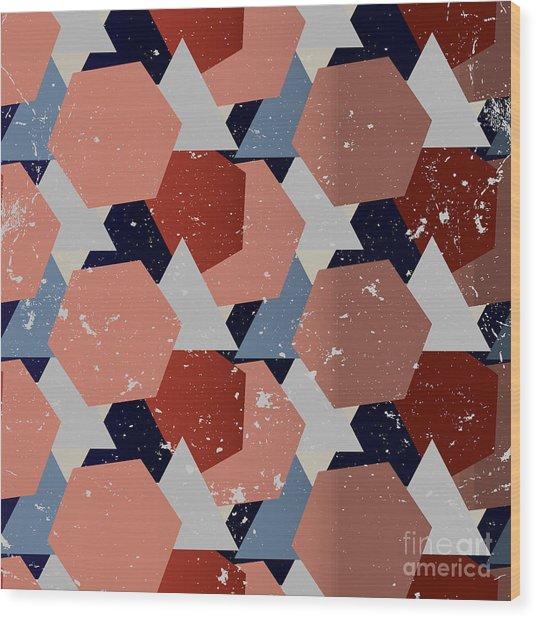 Grunge Geometric Background. Vector Wood Print